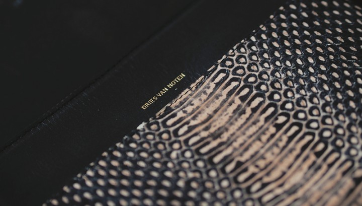 Dries Van Noten snake effect pouch