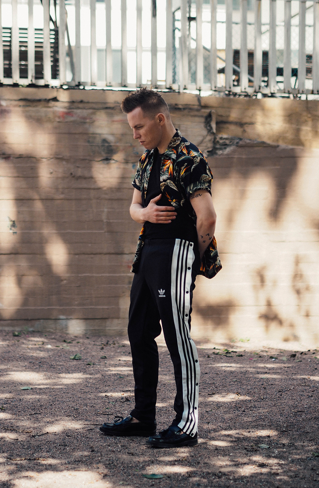 adidas button-down pants